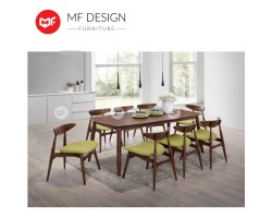 MF DESIGN  Borato Dining Set (1 Table + 8 Chairs) - Scandinavian Style [Full Solid Wood]